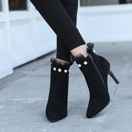 Pointed Toe Side Zipper Patchwork Laces Ankle Boots