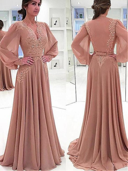 Long Sleeves V-Neck Bowknot A-Line Mother of the Bride Dress 2021
