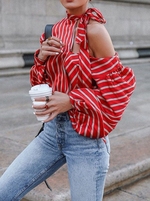 Stripe Puff Sleeve Sweet Women's Blouse