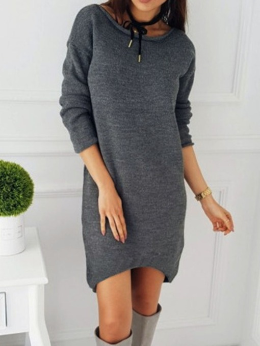 Above Knee Long Sleeve Round Neck Asymmetric Regular Women's Dress