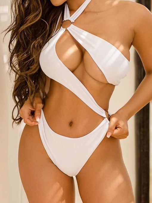 Plain Sexy One Piece Backless Women's Swimwear