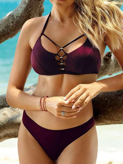 Burgundy Plain Sexy Bikini Set Women's Swimwear