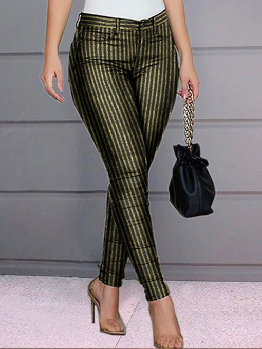 Stripe Slim Print Pencil Pants Women's Casual Pants