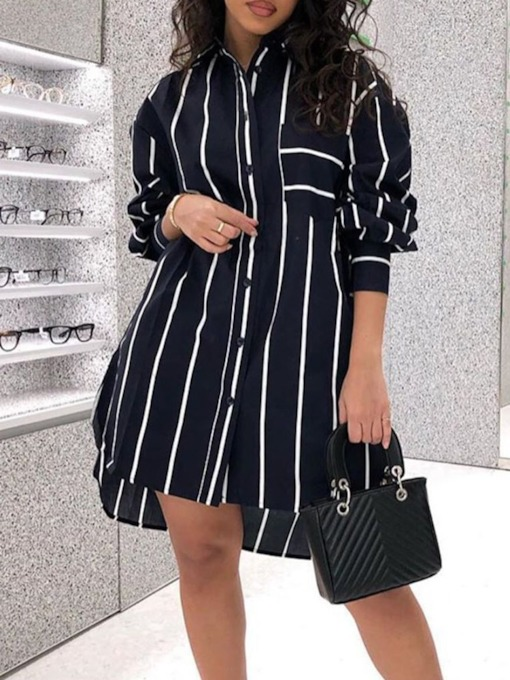 Stripe Lapel Long Sleeve Office Lady Women's Blouse