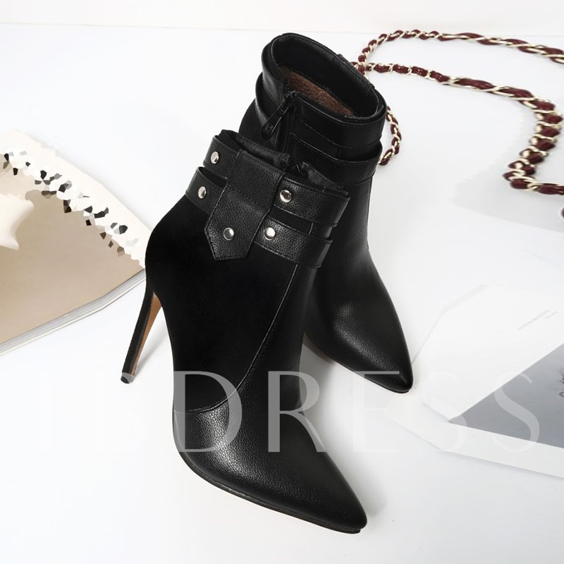 Pointed Toe Side Zipper Color Block Ankle Boots