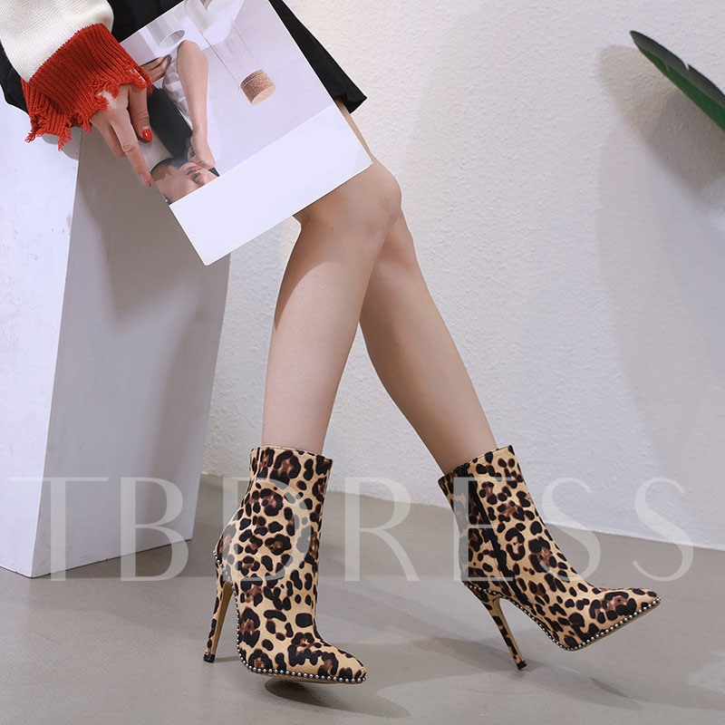 Side Zipper Pointed Toe Leopard Ankle Boots