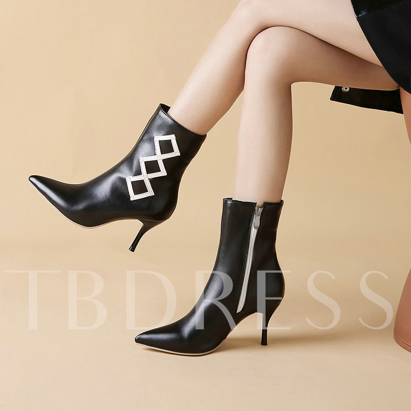 Pointed Toe Color Block Side Zipper Casual Ankle Boots