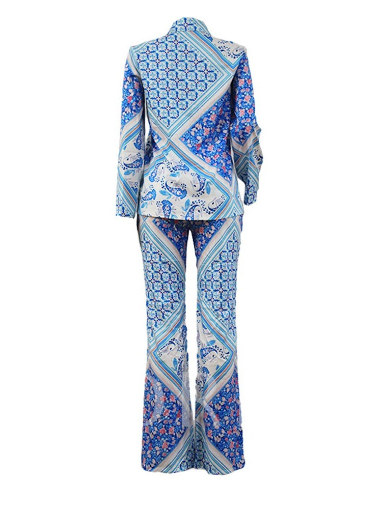 Print Travel Look Pants Single-Breasted Women's Two Piece Sets