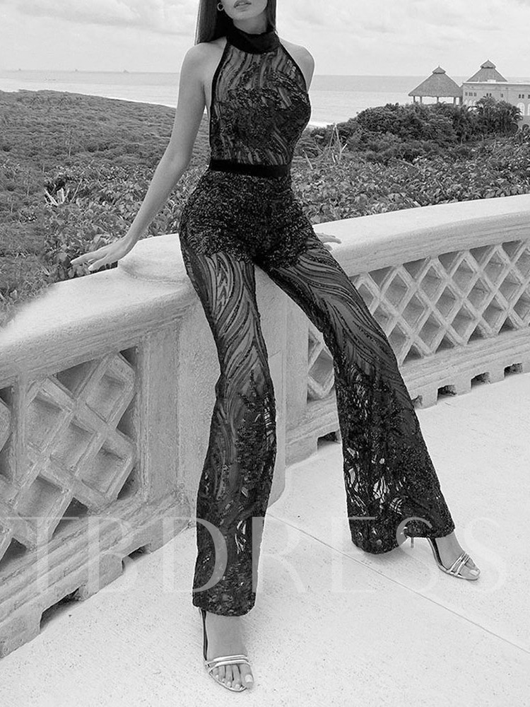 Sequins Full Length Sexy Wide Legs Women's Jumpsuit