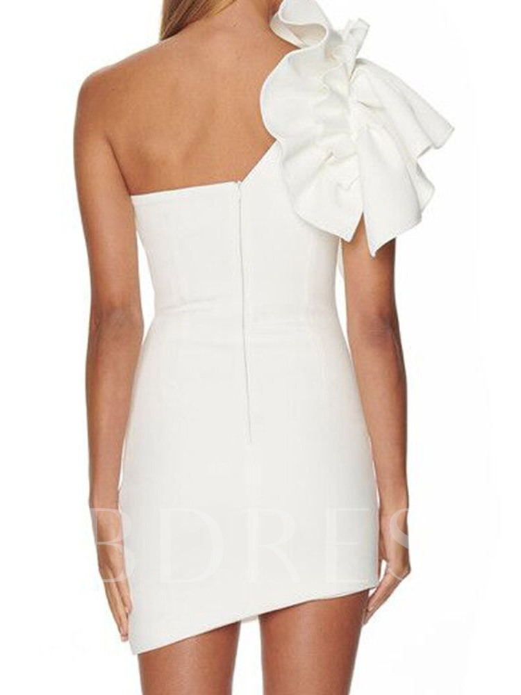 Above Knee Stringy Selvedge Oblique Collar Sleeveless Party/Cocktail Women's Dress