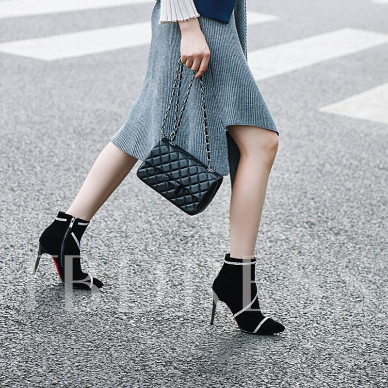 Side Zipper Pointed Toe Zipper Suede Ankle Boots