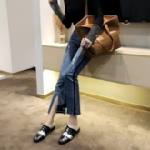 Lace-Up Thread Round Toe Block Heel Casual Shoes
