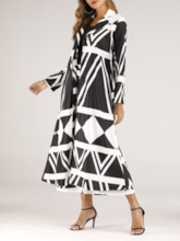 Mid-Calf Pants Print Color Block Western Notched Lapel Women's Two Piece Sets