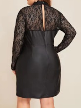 Plus Size Above Knee Long Sleeve Lace Stand Collar Sweet Women's Dress