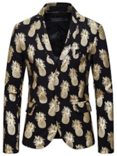 Notched Lapel Single-Breasted Slim Pineapple Print Casual Men's leisure Suit