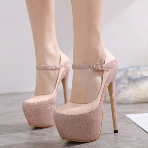 Buckle Round Toe Stiletto Heel Platform Pumps