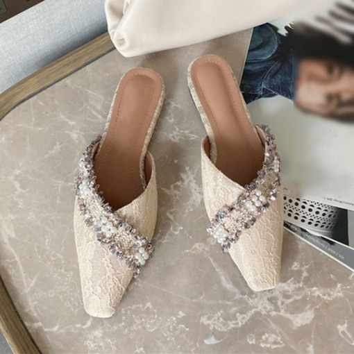 Closed Toe Block Heel Slip-On Beads Casual Slippers