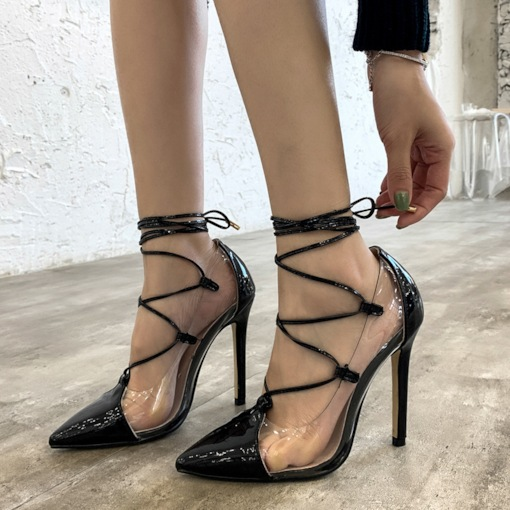 Pointed Toe Lace-Up Casual Pumps