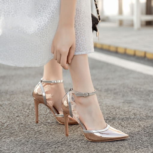 Thread Pointed Toe Line-Style Buckle Banquet Sandals