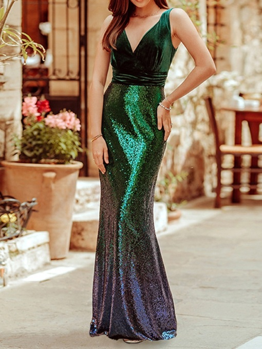 Sleeveless V-Neck Floor-Length Sequins Gradient Women's Dress