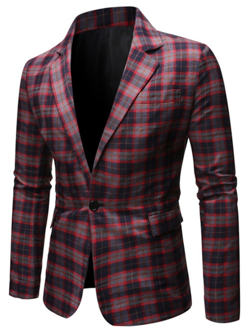 Plaid Slim One Button Print Men's leisure Suit