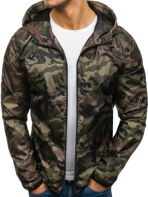 Hooded Camouflage Print Zipper Men's Jacket