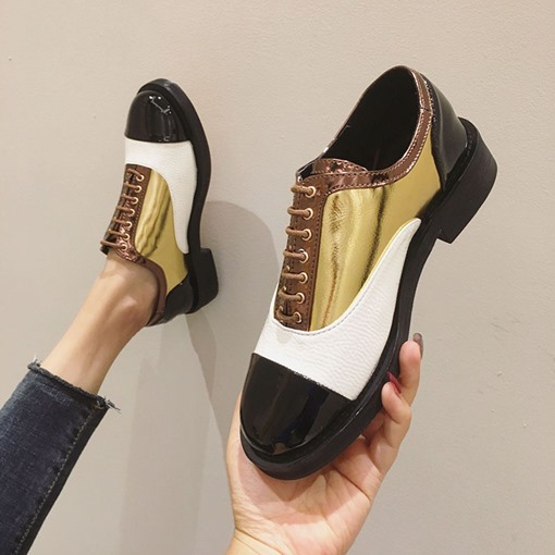 Lace-Up Round Toe Block Heel Color Block Casual Shoes