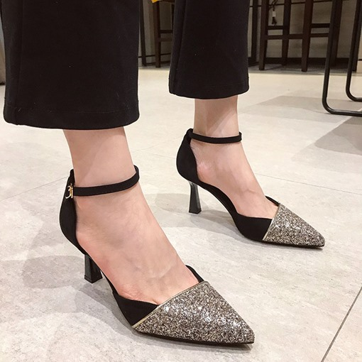 Buckle Pointed Toe Color Block Prom Sandals