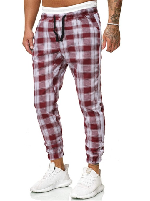 Feather Pencil Pants Plaid Men's Casual Pants
