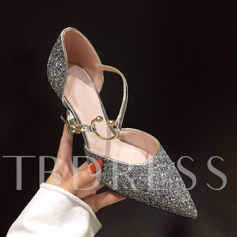 Pointed Toe Thread Buckle Prom Sandals