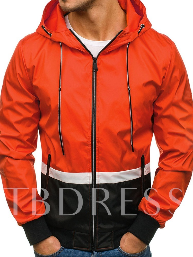 Patchwork Color Block Hooded Casual Men's Jacket