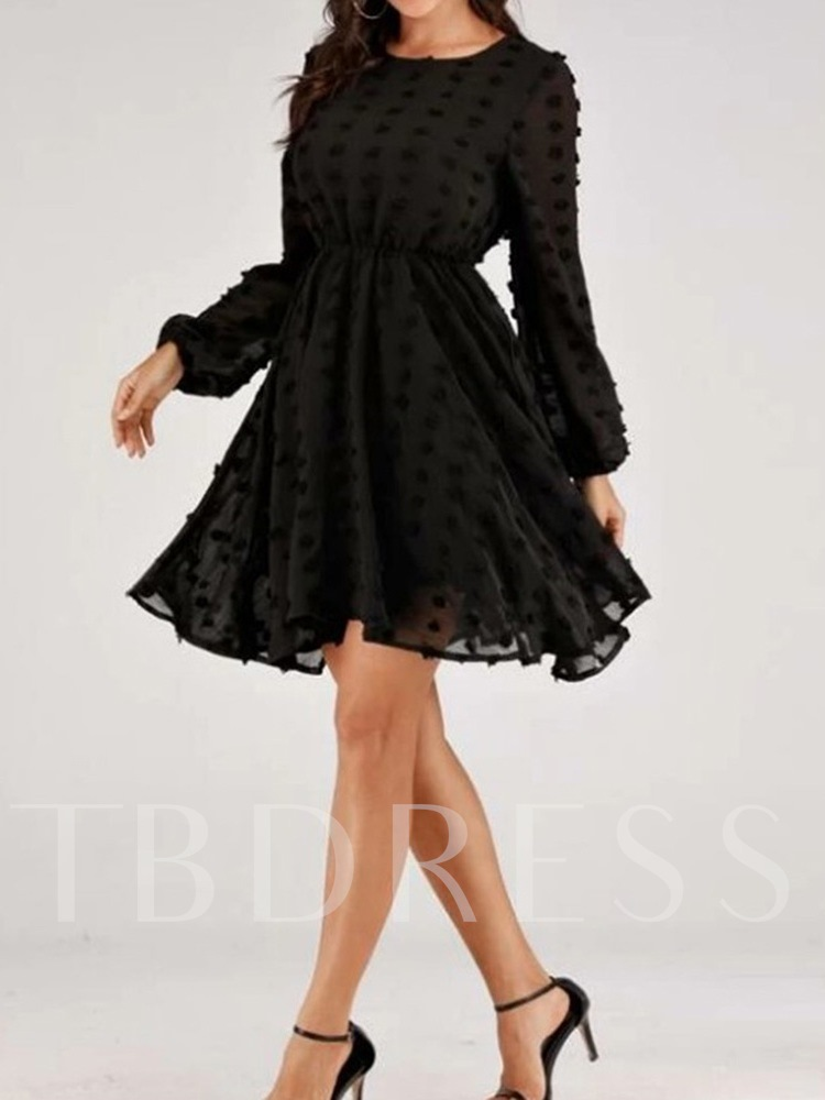Long Sleeve Round Neck Appliques Above Knee Pullover Women's Dress