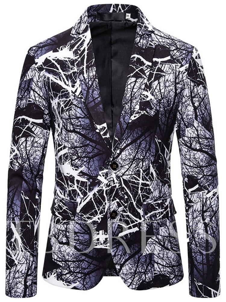 Notched Lapel Gothic Style Single-Breasted Casual Men's leisure Suit