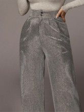 Lurex Loose Full Length Women's Casual Pants