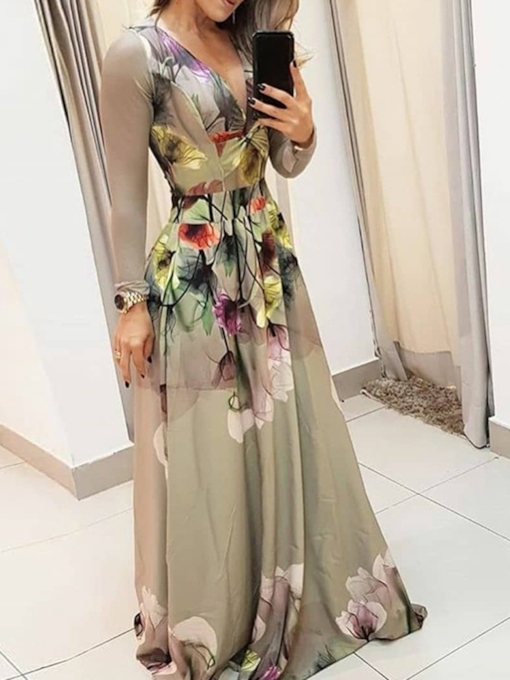 Long Sleeve Print Floor-Length V-Neck Floral Women's Dress