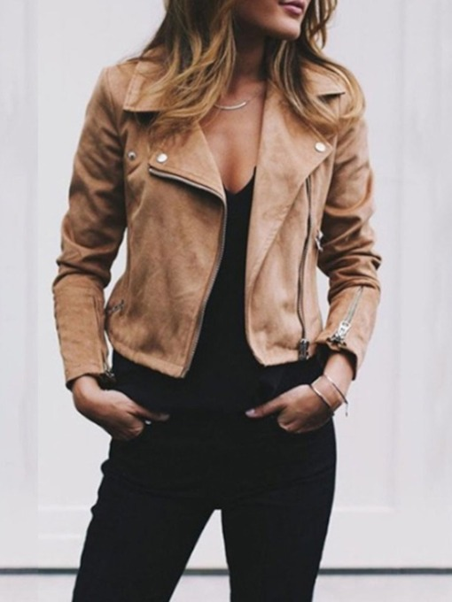 Slim Zipper Lapel Women's Jacket