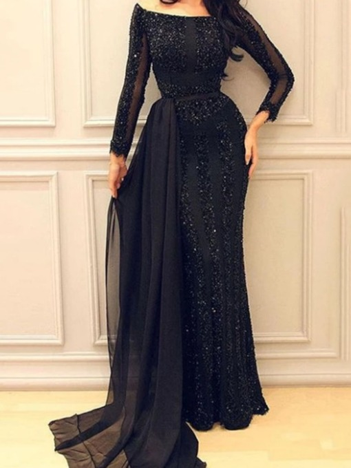 See-Through Off Shoulder Floor-Length Long Sleeve Regular Women's Dress