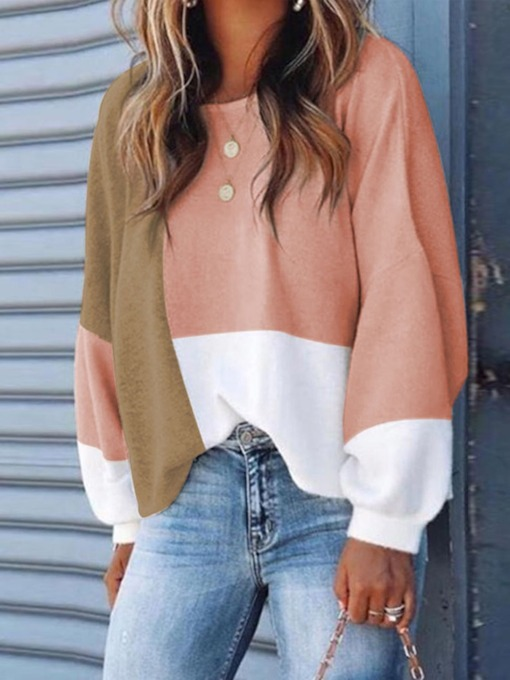Color Block Casual Loose Women's Sweater