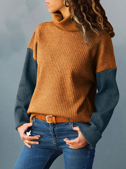 Turtleneck Color Block Women's Sweater