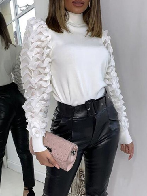 Patchwork Turtleneck Lace Sleeves Women's Sweater