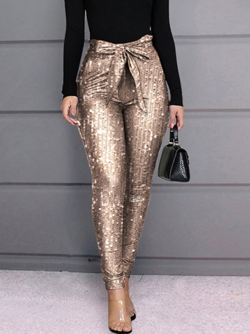 Skinny Sequins Pencil Pants Women's Casual Pants