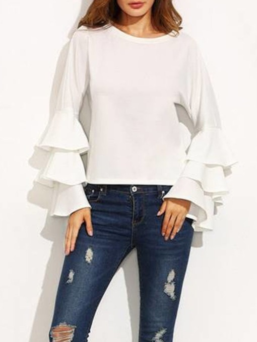 Round Neck Plain Ruffle Sleeve Solid Women's Blouse