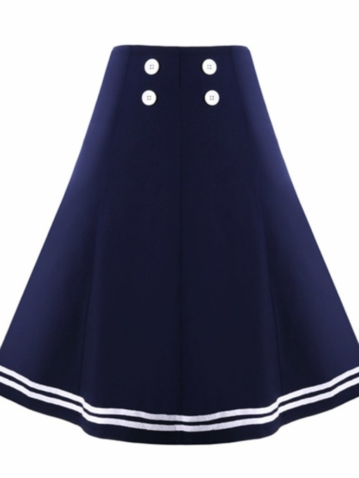 Color Block Button Knee-Length A-Line Japanese Women's Skirt
