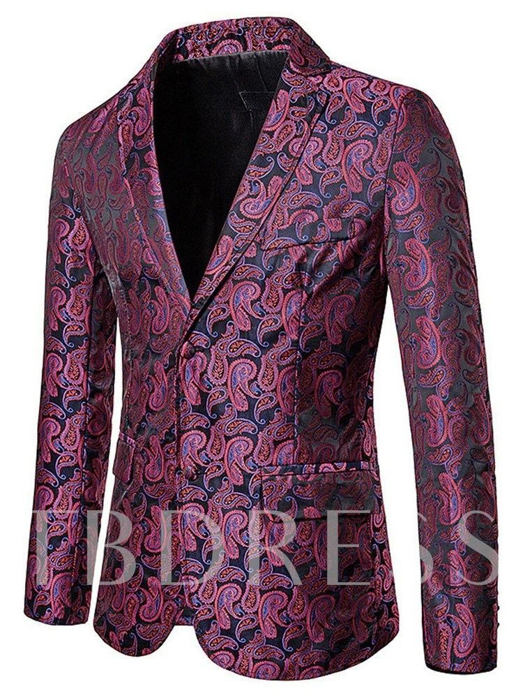 Casual Print Notched Lapel Single-Breasted Men's leisure Suit
