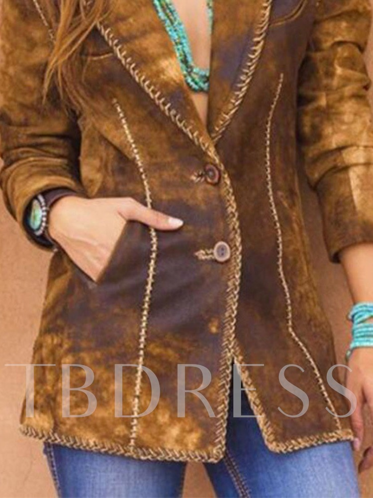 Notched Lapel Single-Breasted Mid-Length Women's Casual Blazer