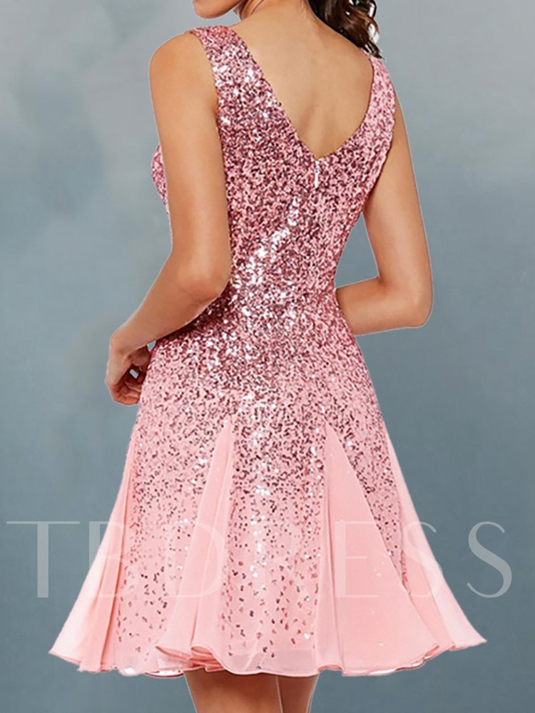 Above Knee V-Neck Sleeveless Sequins Party/Cocktail Women's Dress