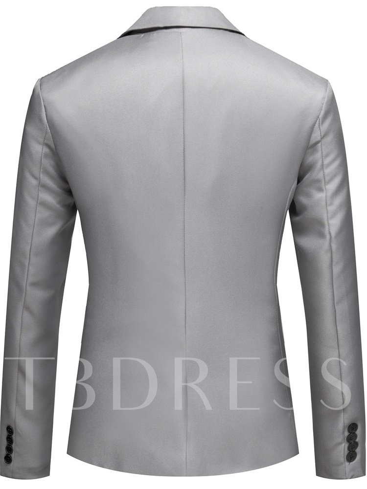Plain Slim Casual Notched Lapel Men's leisure Suit