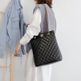 PU Quilted Lining Plaid Rectangle Shoulder Bags