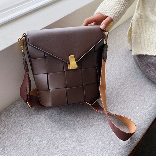 Plain Knitted PU Rectangle Casual Crossbody Bags