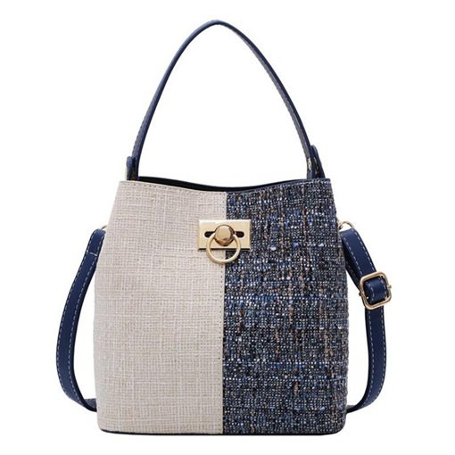 Thread Linen Patchwork Rectangle Tote Bags